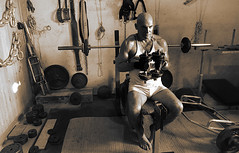 Last Set Finished (licornenoir) Tags: people man weight training home gym bodybuilding body shaping
