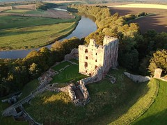 Last of this evening's autumn light hits Norham Castle, view from England across to Scotland with River Tweed acting as the Border. (scobie56) Tags: norham castle england northumberland scotland scottish borders river tweed dji from air