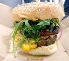 juicy burger (n.a.) Tags: double cheeseburger rocket arugula american cheese sesame seed bun