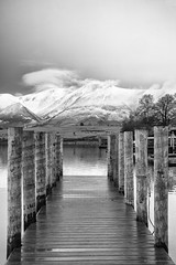 The wrong jetty (andyrousephotography) Tags: lakedistrict keswick derwentwater lake water jetty winter mountains skiddaw snow cold crisp mono monochrome blackandwhite