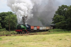 AUSTERITY PAIRING (Malvern Firebrand) Tags: two hunslet engineering company locomotives no 3694 whiston 060st built 1950 3839 wimblebury 1956 blast foxfield colliery 14717 during 50th anniversary gala railway vehicles transportation staffordshire steam smoke freight minerals hopper wagons preservation field trees britain england