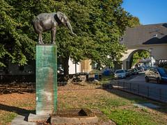 Elefantenbrunnen in Wiesdorf (KL57Foto) Tags: deutschland europa germany herbst jahreszeitenundwetter kl57foto kontinente leverkusen leverkusenwiesdorf nrw natur nordrheinwestfalen omdem1 olympus rheinland september wiesdorf elefantenbrunnen elefant skulptur brunnen denkmal