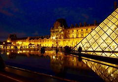Night falls on the Louvre (joanneclifford) Tags: triangles diamonds architecture leohmingpei xf1855mm fujifilmxt20 pei'spyramid museum france paris thelouvre