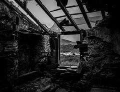 Beer can windchimes, Dinorwic (Rogpow) Tags: dinorwicquarry llanberis slatequarry wales snowdonia northwales industrialhistory industrialarchaeology industrial industry slate drumhouse inclinedrumhouse abandoned derelict decay disused dilapidated dinorwic dinorwig ruin bnw blackandwhite bw blackwhite whiteandblack mono monochrome window fujifilm fuji fujixpro2