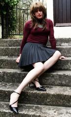 End of Week (Amber :-)) Tags: charcoal sunray pleatd mini skirt tgirl transvestite crossdressing