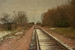 October Snow on the Tracks (Dave Linscheid) Tags: snow autumn fall railroad tracks butterfield watonwancounty mn minnesota usa earlysnow texture textured picmonkey