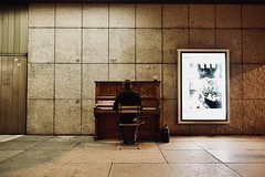 Somewhere in Prague... (Pavel's Snapshots) Tags: rectangle strange alone single lonely beethoven sonata bag chair wall guy man classical filter dramatic 28mm d750 nikon czechrepublic czhech praha prague piano performance artist musician music night street