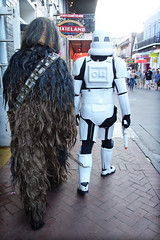 from a galaxy far, far away... (lucymagoo_images) Tags: new orleans louisiana nola sony rx100 bourbonstreet wookiee starwars characters walking visitors halloween street fun funny costumes stormtrooper