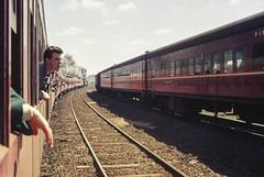 Observing the Intercapital Daylight Express (oz_lightning) Tags: 35mmslrcamera 35mmfilmcamera australia canonpixmamg8150 filmscan hanimexcs50 melbourne people somerton vic yashicaj3 yashinon50mmf2lens diesel film history passenger railways scan slide special steam tracks trains victoria aus