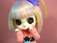 Bubu- spooky cute girl (somehowcameout) Tags: wip eyes eyelashes repaint renovation techniques byul custom pullip cute customdoll jun purple girl ooak ooakdoll obitsu somehowcameout doll colours toys rainbow rainbowhair halloween spooky