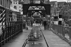 Bristol 14 October 2018 041 (paul_appleyard) Tags: bristol docks harbour october 2018 cranes railway tracks reflections reflected black white