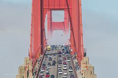 Golden Gate Bridge above the fog (FollowingNature (Yao Liu)) Tags: lowfog sanfrancisco followingnature traffic clouds fog goldengatebridge