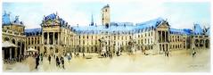 Dijon - Bourgogne - France - palais des ducs de Bourgogne (guymoll) Tags: googleearthstreetview croquis sketch aquarelle watercolour watercolor aguarela acuarela palais duc bourgogne panoramique panoramic