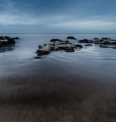 Beach1 (HuelmoGerman) Tags: seascape sand beach landscape blue rocks lines clouds canon photography longexposure nisi filters uruguay maldonado agua mar sea cielo arena roca bahía bote océano