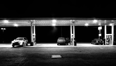 gas station in the night (Le Xuan-Cung) Tags: gasstation inthenight eriecountry newyork usa streetphotography sw bw nb
