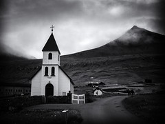 The Church at Gjógv (Feldore) Tags: faroe faroeislands gjógv church clouds landscape misty moody mountains old traditional wooden architecture feldore mchugh em1 olympus 1240mm