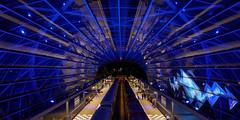 U4 Metro station Elbbrücken - Hamburg (PortViewR) Tags: eröffnung hamburg hamburgerhafen illumination nacht nachtaufnahme night ubahn u4 pixelshift 50mpix greatphotographers underground metro em1 olympus blue outside architektur architecture subway