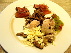 Healthy Breakfast (knightbefore_99) Tags: breakfast food mexico isla mujeres tropical desayuno tasty best delicious plate mexican salsa green spicy pork beef tuna tataki queso