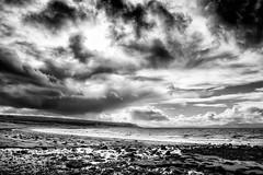 opinan beach (colskiguitar) Tags: opinan badachro scottish beach beaches drama mono bnw westerross clouds dramatic sky