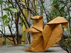 Squirrel (Rohit KO) Tags: origami squirrel micheal g la fosse rohit ko duo thai orange white papercraft paperfolding paper