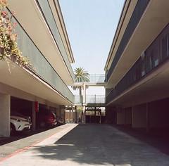 Redwood City (bior) Tags: hasselblad500cm carlzeiss portra160nc kodakportra expiredfilm mediumformat 120 6x6cm suburbs redwoodcity apartment driveway garage balcony