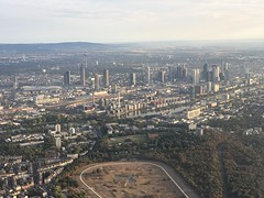 Frankfurt am Main in Germany, here with the focus on the central business district and the Frankfurt (Central Station) Hauptbahnhof. (arwed.kubisch1) Tags: frankfurt main city stadt hochhäuser skycraper luftaufnahme aerial photography urban städtisch germany deutschland central station hauptbahnhof water wasser commerzbank tower europaturm messeturm westendstrase trianon deutsche bank eurotower europe europa