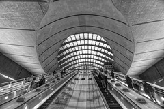 Canary Warf Underground Station, B&W HDR (jim_2wilson) Tags: london hdr 5exposures tonemapped jimwilson sonya99 minolta1735mmf28f4 wideangle underground escalators station canarywharf canarywharfundergroundstation bw