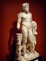Herakles (Hercules) Roman 100-200 CE Marble with traces of pigment (2) (mharrsch) Tags: herakles hercules demigod hero sculpture statue roman 2ndcenturyce ancient gettyvilla malibu california mharrsch nemeanlion