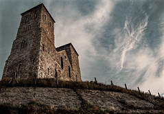 Reculver Towers (Lee-Anne Evans) Tags: clouds coastal photography sky red white blue dirty gravestone heads graves moss sea water people photo reculver seaside coastalphotography dirtysky brown grey whiteclouds fence bolders hdr photoshopcc