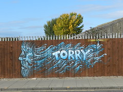Welcome to Torry (Artwork), Aberdeen, Sep 2018 (allanmaciver) Tags: welcome torry aberdeen city sea warrior lighthouse image north east coast harbour allanmaciver