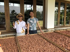 Warren Hsu and his father with drying racks (mytripsandraces) Tags: taiwan 2018 internationalchocolateawards cacao chocolate