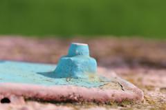 The blue castle (Argyro Poursanidou) Tags: screw paint blue pink macro castle metal nut