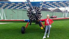 Samantha with her transport for the day! (First Choice 360 Mediaworks) Tags: grass aircraft airplane red white blue stunt boeing stearman raf rendcomb hangar airfield samantha bumford miss poole 2018 aerosuperbatics wing walkers walking engine propeller