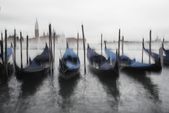 Abstract view (markfly1) Tags: venice italy italia grand canal gondola gondolas cyan blue light motion blur intentional camera movement icm wooden poles sticks oak boats church cathedral spire fantastic view vista water waterscape seascape low mist distance milky sky serene scene nikon d750 35mm manual focus lens landscape hand held classic shot holiday snap orange pale green black white