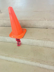 (KittyKat3756) Tags: traffic cone red tape stairs concrete orange