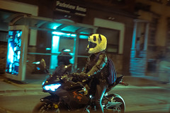 Fast Panda (cookedphotos) Tags: 2018inpictures toronto ontario canada ca canon 5dmarkiv streetphotography motorcycle helmet panda funny leather street 365project p3652018 night speed
