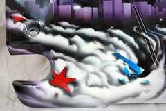 Darkside (Chicago star detail) (theartistbeforeyou) Tags: refuz engine enginecover paint airbrush badger anthem155 artist aesosolart space skyline chicago city colorful stars purple blue red r 35 vtec automotiveart cars aesorolkings searstower hancock