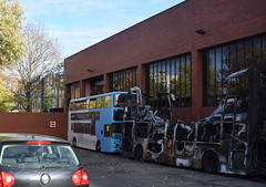 Burnt out remains of National Express Coventry Dennis Trident 4203 (paulburr73) Tags: fire firedamage burnt damage writtenoff 4203 y809toh nxc october 2018 writeoff 171018 universityofwarwick incident scrap coventry nationalexpress dennistrident alexander alx400 newin2001 burntout westmidlands busdepot buses 4207 withdrawn withdrawal dumped