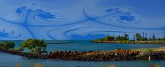 Blue sky [Burnett Heads] (Dreaming of the Sea) Tags: sliderssunday hss bundaberg bluesky burnettriver queensland australia lighthouse water manipulation gimp