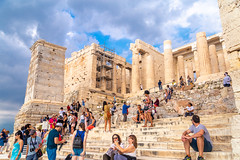 Entrance to Acropolis (Wolfhowl) Tags: ancient athens building historic old medeival mountains city cityscape acropolis trees summer ellinska attraction ruins travel hellenes greek columns greece 2018 europe temple landscape