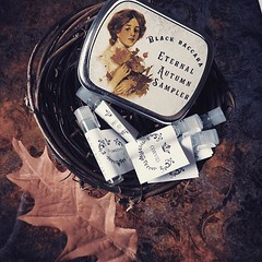 The autumnal equinox is upon us and I couldn't be more excited. My Eternal Autumn sample set is the perfect way to enhance the season with an eclectic assortment of autumnal blends. It features samples of Autumn Air, Autumn In Salem, Corvid, Falloween, an (BlackBaccara) Tags: perfume art beauty fragrance indie goth perfumeoils conceptual