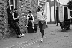 On the Run (Bury Gardener) Tags: burystedmunds bw blackandwhite suffolk streetphotography street streetcandids snaps strangers candid people peoplewatching folks england eastanglia uk britain nikond7200 nikon 2018 cornhill