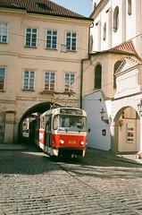 Tram in Prague (zuziawie) Tags: minolta himatic g 35mm tram train prague praha europe analog analogue sunshine architecture city transport