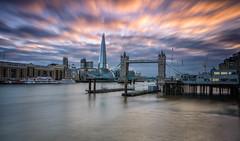 Tower Bridge (Valentin Laurentziu) Tags: london tower bridge long exposure water building sky skyline clouds sunset the shard
