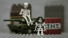 Teach Peace - in the Nuclear Age, War is the enemy ! (N.the.Kudzu) Tags: tabletop toys lego grimreaper plastic skeleton tank tnt canondslr lensbabysol45 lightroom
