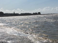 The shimmering tide at Morecambe. (Bennydorm) Tags: flut maree clouds sky august resort town kuste cote costa coast inghilterra inglaterra angleterre europe uk gb britain england lancashire morecambe iphone6s sunny bright shimmering agua aqua eau wasser water bay sea tide