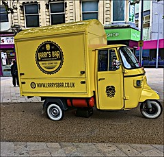 Larry's Bar (brianarchie65) Tags: kingstonuponhull hull cityofculture citycentre mobileshop yellow threewheeler iphonese geotagged brianarchie65 flickrunofficial flickr flickrcentral flickrinternational ukflickr yorkshirecameraramblers unlimitedphotos ngc shops paving