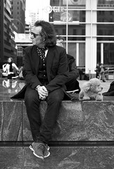 Englishman In New York (captures.in.time) Tags: english man new york newyork upper uppereastside bigapple walking dog pooch street cab taxi apple big nyc streetphotography portrait hair glasses streetportrait sitting ngm lonelyplanet