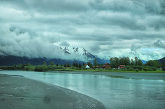 View from the bus (crafty1tutu (Ann)) Tags: travel holiday 2018 canadaandalaska alaska landscape water reflections clouds mountain mountains mountainrange canon5dmkiii canon24105lserieslens crafty1tutu anncameron sky lake tree forest grass