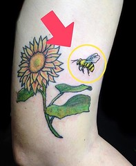 bee add on (YankeeDoodlezArt) Tags: cute cutetattoos tattoo bee color colortattoo colorf colorful sunflower flower flowertattoo floral bees flowers addon tattooaddon extradetails insects blackandyellow closeup savethebees nature art insect honey garden oldeschooltattoo marietta georgia yankeedoodlezart yda ydart